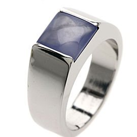 Cartier Tanking Ring 18K White Gold with Chalcedony Size 6.75