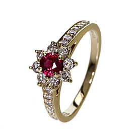Tiffany & Co. 18K Yellow Gold with Ruby & Diamond Floral Ring Size 4.75