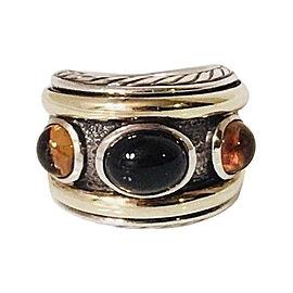 David Yurman Renaissance 14K Yellow Gold Sterling Silver Onyx Citrine Ring Size 5