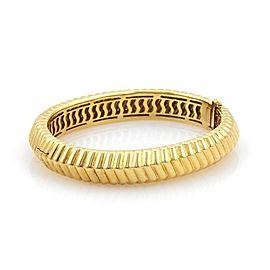 Tiffany & Co. 18K Yellow Gold Fancy Ribbed Design Vintage Bangle Bracelet