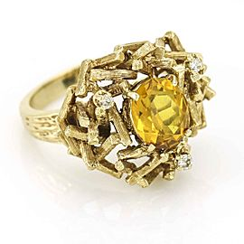 1970s Brutalist Ring with Citrine and Diamonds in Yellow Gold