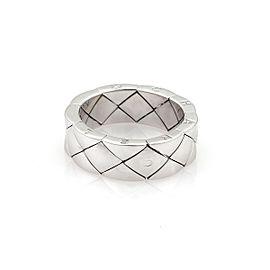 Chanel Matelasse 18K White Gold Ring Size 9