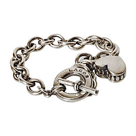 Lagos Caviar Sterling Silver Heart Charm Bracelet