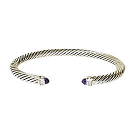 David Yurman Cable Sterling Silver Amethyst Diamond Bracelet