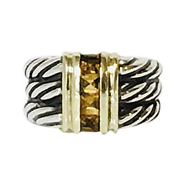 David Yurman Cable 14K Yellow Gold Sterling Silver Citrine Ring Size 6.5