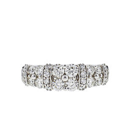 Leo Diamond 14k White Gold 2 Row Diamond Ring 1.25 Cts
