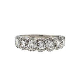 14k White Gold Twist Style Diamond Band Ring 1 Ct