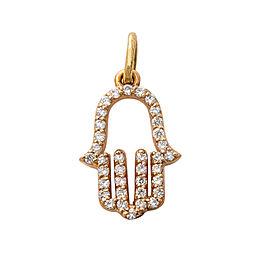 14K Rose Gold HAMSA 0.48 Ct I VS1 Diamond Pendant Necklace 1.1 Grams