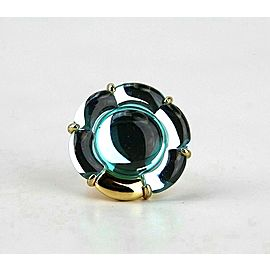 BACCARAT JEWELRY B FLOWER VERMEIL SILVER TURQUOISE LARGE RING SZ 6.5-53 NO BOX