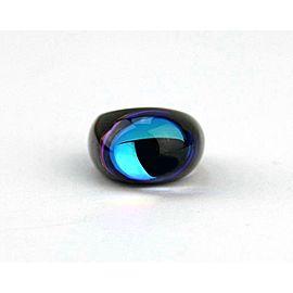 BACCARAT JEWELRY TANGO BLACK ONYX BLUE SCARABEE CRYSTAL RING SZ 53-6.5 FRANCE