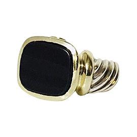 David Yurman Noblesse 14K Yellow Gold Sterling Silver Onyx Ring Size 7