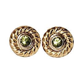 David Yurman Cable 18K White and Yellow Gold Peridot Earrings