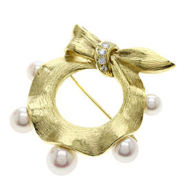 Mikimoto 18K Yellow Gold with Cultured Pearl & Diamond Ribbon Motif Brooch