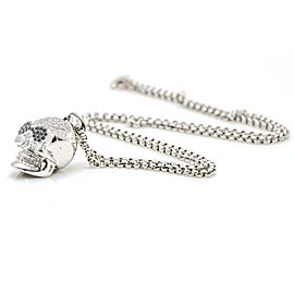 Salavetti Skull Pendant with Diamonds in 18k White Gold Rolo Chain