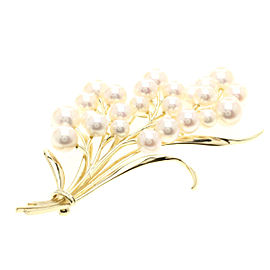 Mikimoto 14K Yellow Gold with Cultured Pearl Brooch