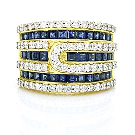 Diamonds and Sapphire Wide Band in 18k Yellow Gold Size 8.5
