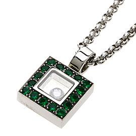 Chopard Happy Diamond Emerald 18K White Gold Necklace