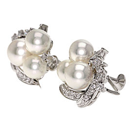 Mikimoto 14k White Gold Cultured Pearl, Diamond Earrings