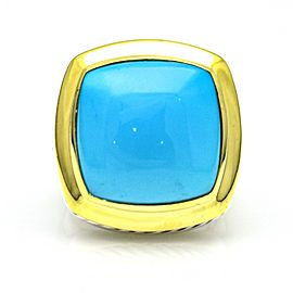 David Yurman 18K Yellow Gold, Sterling Silver Turquoise Ring Size 7