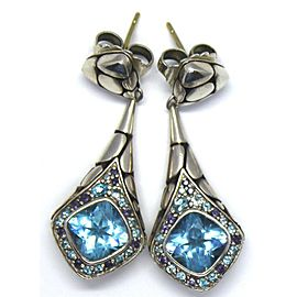 John Hardy 925 Silver & Blue Topaz Earrings