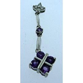 14K White Gold Amethyst / Diamond Pendant Necklace Charm