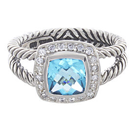 David Yurman Sterling Silver Diamond, Topaz Ring Size 6.5