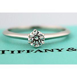 Tiffany & Co. Platinum 0.38ct Round Diamond Solitaire Ring Size 7.75