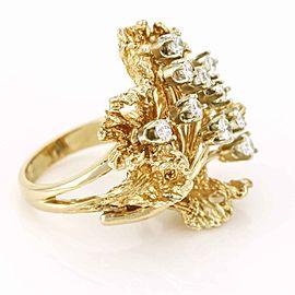 Vintage 14k Yellow Gold Diamond Cocktail Ring