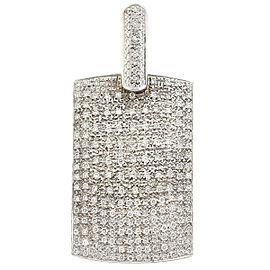 18k White Gold Diamond Dog Tag Pendant Approx. 4.00Cts