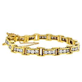 18k Yellow Gold Diamond Channel Set Bracelet Approx 4.5TCW
