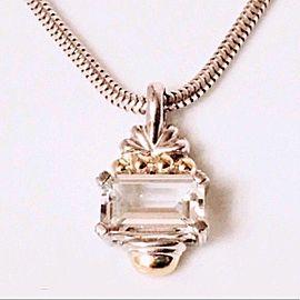 Lagos Caviar Signature White Topaz Necklace 925 Sterling Silver & 750 18k Gold