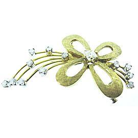 Fine Estate 14K Yellow Gold Free Form Flower Diamond Brooch Pin .80Ct