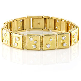Diamond 18k Yellow Gold Square Link Bracelet
