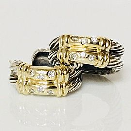 David Yurman Diamond Double Cable Metro Hoop Earrings Sterling Silver & 14k Yellow Gold