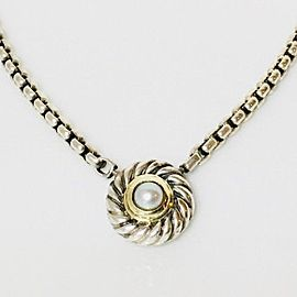 David Yurman 14K Yellow Gold, Sterling Silver Cultured Pearl Cable Cookie Necklace