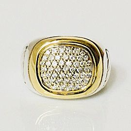 David Yurman Classic Cable Diamond Signet Ring 925 Sterling Silver 750 18k Gold Size 9