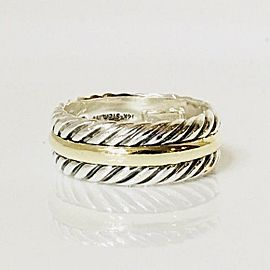 David Yurman Classic Cable Band Ring 925 Sterling Silver & 14k Gold Size 11