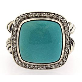 David Yurman Albion Cable Ring Sterling Silver Turquoise & Diamond Size 7.25