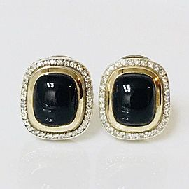 David Yurman Albion Earrings Onyx Diamond 18k Gold 925 Sterling Silver