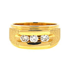 14k Yellow Gold Three Diamond Men's Ring