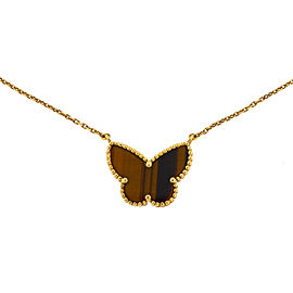 Van Cleef & Arpels 18k Yellow Gold Lucky Alhambra Butterfly Tigers Eye Necklace