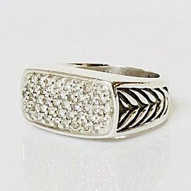 David Yurman 925 Sterling Silver Diamond Chevron Signet Mens Ring Size 8.5