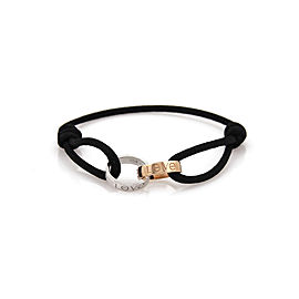 Cartier Love 18k White & Rose Gold 2 Mini Ring Charm Black Cord Bracelet