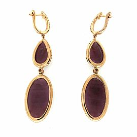 Rose Cut Sliced 16 CT Natural Ruby 0.89 CT Diamonds 14K Rose Gold Drop Earrings