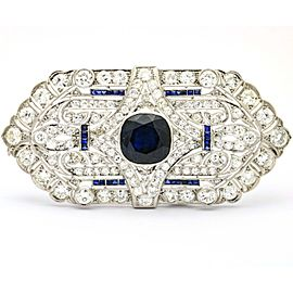 4.07 carat Sapphire and 4.85 carat Diamond Platinum Art Deco Brooch