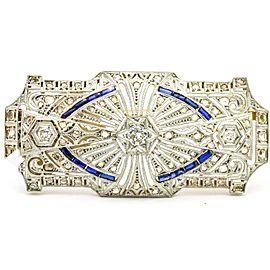 1.07 carat Diamond and Blue Sapphire 18k Gold Art Deco Brooch