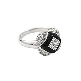 18K White Gold 1Ct G VS1 Diamond Onyx Ring 7.8 Grams Ring Size 7.25