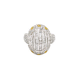 18K White Gold 3.0Ct GVS1 Baguette Round Diamond Fancy Yellow Ring Size 6.75