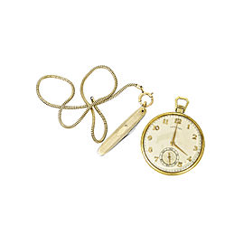 Hamilton Vintage 46mm 14K Yellow Gold Open Face Pocket Watch Gold Filled Chain