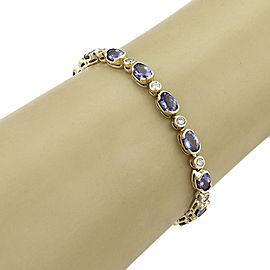 14K Yellow Gold Tanzanite, Diamond Bracelet
